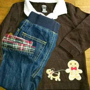 Gymboree Holiday Gingerbread Man Set Bundle Outfit
